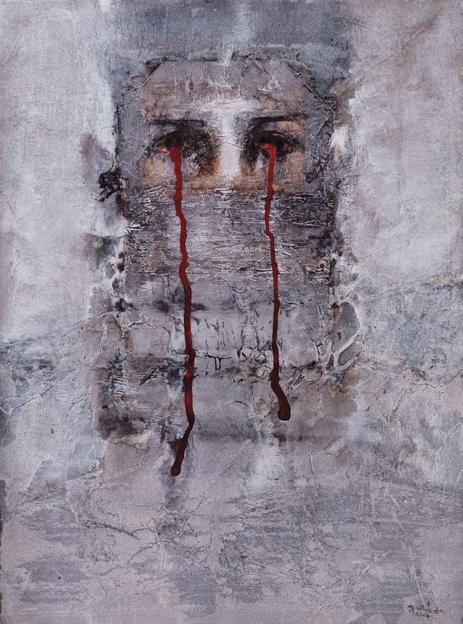"ALI TALIB ALKAYALI, ""Mesopotamia"", 2004, mixed media on paper, 29.75"" x 22"", Collection of Tala Azzawi"