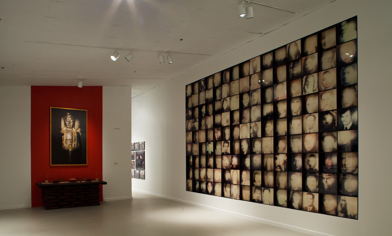 """Installation view Station Museum of Contemporary Art: Charif Benhelima, """"Semites: A Wall Under Construction"""", 2005 - 2011, 135 Ilfochrome prints on Diasec, from Polaroid 600, Each print 41"""" x 41"""""""
