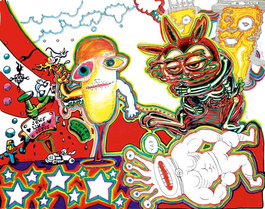 Ron English, Gibby Haynes, Daniel Johnston, Anthony Ausgang, and Clark Fox :: Collaborative Art, 2006