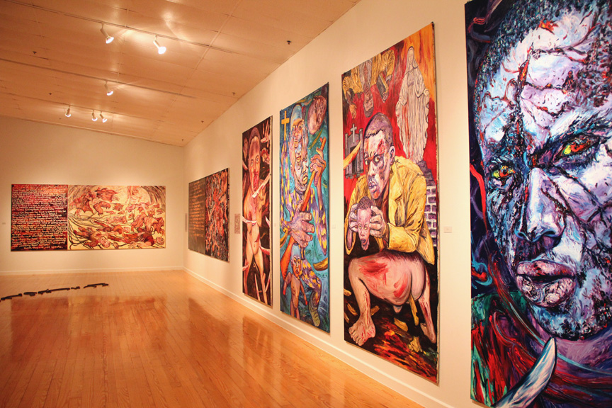 """George Gittoes, """"Witness To War"""", Installation view, Station Museum of Contemporary Art, 2011"""