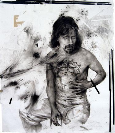 "James Drake, ""Exit Juarez"", 2007 Charcoal, tape, misc. items on paper, 100"" x 86"""