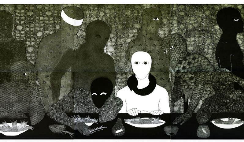 "Belkis Ayón, ""La cena (The Supper)"", 1991, Collograph, 1380 x 3000 mm"