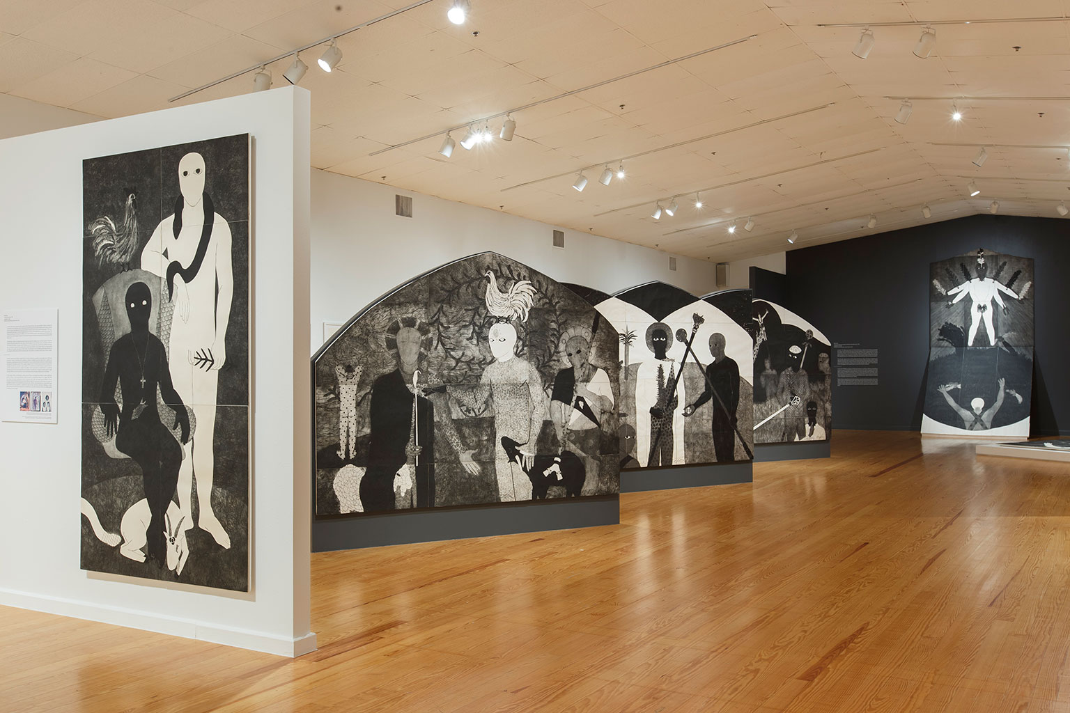 """""""Nkame: A Retrospective of Cuban Printmaker Belkis Ayón"""", installation view at the Station Museum of Contemporary Art, 2018"""